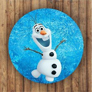 Painel Tecido Redondo Olaf Frozen Decoração Festa 01