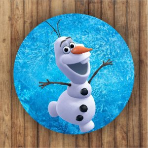 Painel Tecido Redondo Olaf Frozen Decoração Festa 03