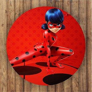 Painel Tecido Redondo Ladybug Catnoir Decoração Festa 02