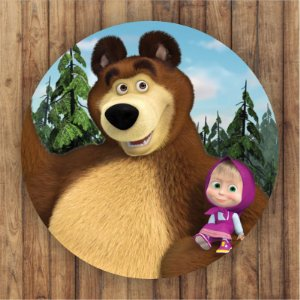 Painel Tecido Redondo Masha e o Urso Decoração Festa 04
