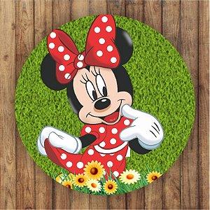 Painel Tecido Redondo Minnie Decoração Festa 03