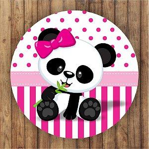 Painel Tecido Redondo Panda Menina Decoração Festa 09