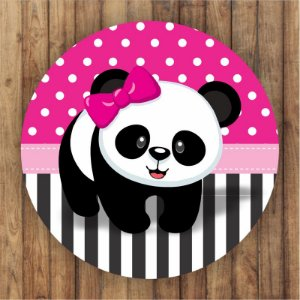 Painel Tecido Redondo Panda Menina Decoração Festa 10