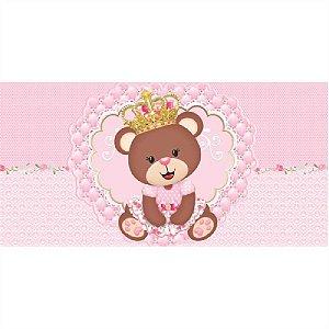 Painel em Lona Ursinha Princesa Marrom 01