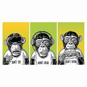 Quadros Decorativos Macacos Sábios 150x80 - Mod01