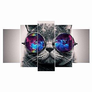Quadro Mosaico Decoração 5 Peças Psicodélico Gato Mod 03