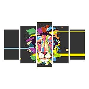 Quadro Mosaico Decoração 5 Peças Psicodélico Leão Mod 93
