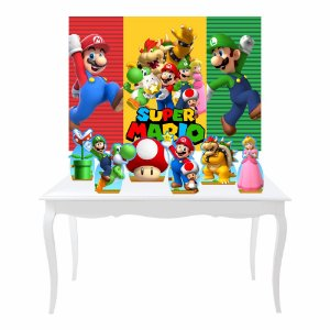 Kit Festa 6 Displays Super Mario + Painel Lona Mod 04