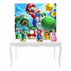 Kit Festa 6 Displays Super Mario + Painel Lona Mod 05