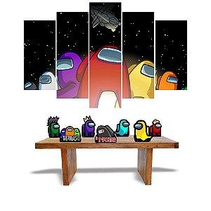 Kit Só Um Bolinho Among Us 5 Quadros + 7 Displays Mesa Mdf