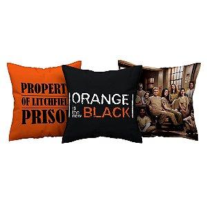 Kit 3 Capas de Almofada Série Orange Is The New Black