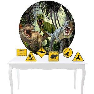 Painel Tecido Redondo Sublimado Dinossauro + KIT 6 displays Mesa