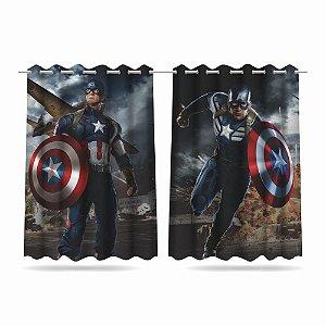 Cortina Infantil Vingadores Capitão América 2,60x1,50 Tecido MOD 01