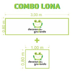 Combo 2 Lonas Personalizadas 3,00x0,8m + 1,00x0,8m