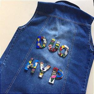 letras bordadas | monte o seu colete | a compra das letras terá que ser vinculada à compra de um jeans coleteria