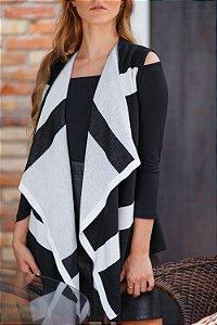 colete multifuncional de tricô estampado preto e branco Coleteria