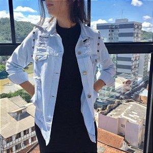 colete e jaqueta jeans destroyed azul claro Coleteria