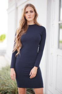 vestido manga longa básico de malha marinho Coleteria