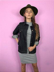 colete e jaqueta jeans básica preta Coleteria