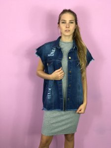 colete jeans oversized destroyed azul escuro Coleteria
