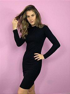 vestido manga longa básico de malha preto Coleteria