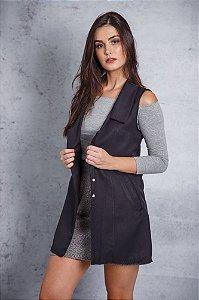 colete de alfaiataria preto com costas chiffon e botão de pérola Coleteria