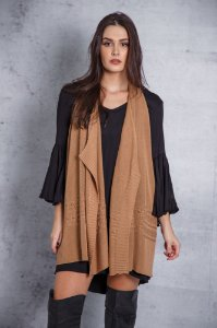 colete de tricô multifuncional marrom coleteria