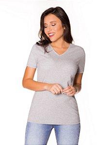 Camiseta básica decote V mescla| t-shirt básica| Coleteria