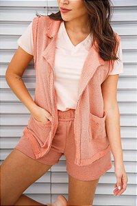 Camiseta básica decote V rosa | t-shirt básica| Coleteria