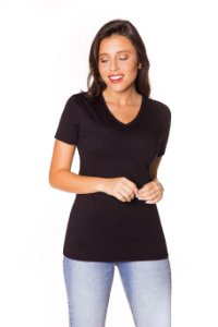 Camiseta básica decote V preta | t-shirt básica| Coleteria