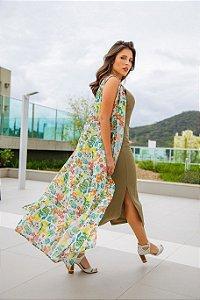 Vestido alcinha Midi Ribana verde | Vestido básico| Coleteria