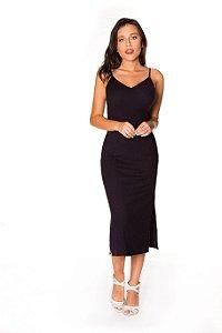 Vestido alcinha Midi Ribana preto | Vestido básico| Coleteria