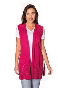 Colete tecido Barrado rosa|colete| Coleteria