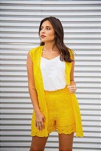 Colete tecido Barrado amarelo|colete| Coleteria
