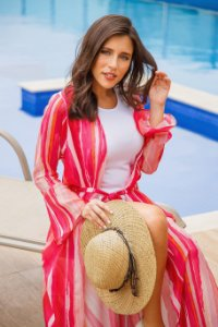 Kimono Maxi Chiffon Pink Hibisco| kimono saída de praia| Coleteria