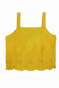 Top tecido Barrado amarelo|top| Coleteria