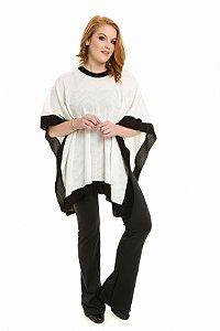 Poncho Tricot Bicolor off white|Poncho| Coleteria