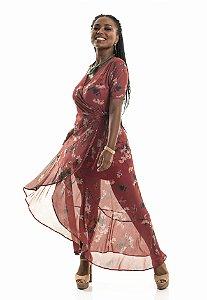 Vestido tule floral coleteria