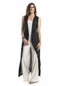 Maxi Colete Quadriculado Preto com Prata|colete|Coleteria