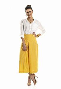 Calça Pantacourt Alfaiataria Amarela |calça|Coleteria