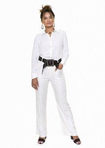 Calça Off White Listrada com Cinto|calça|Coleteria