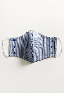 Máscara Listrada Azul com apliques (1unidade) |Máscaras|Coleteria