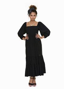 Vestido coleteria com mangas bufantes preto