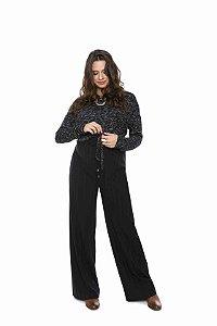 Blusa gestante manga longa nó coleteria trico rajado preto