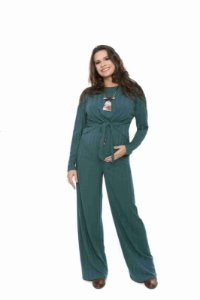 Calça gestante pantalona coleteria verde