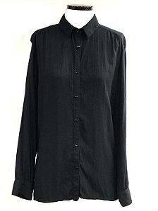 Camisa social coleteria maquinetada preta