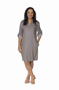 Vestido chemise estampa rotativo floral