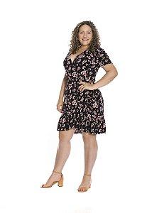 Vestido curto transpassado babado viscocrepe estampa floral preto