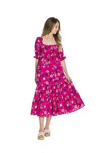 Vestido mangas bufantes duas marias estampa floral fundo rosa