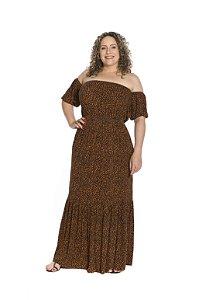 Vestido longo manga curta saia uma maria ciganinha animal print